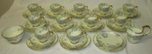 Stunning 37pc Copelands Grosvenor China Hand Painted Gilded Tea Set 1930-40