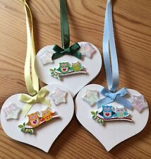 3 X Owl Hanging Decorations Handmade Shabby Chic Heart Beautiful Stars Multi