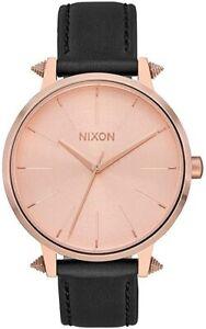 Nixon Kensington Leather A1083147 37mm Rose Gold Artifact Black Watch A108 3147