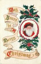 Christmas~Santa~Red Suit~Brown Fur~In Snow & Berry Circle~Art Nouveau~Gold~Emb