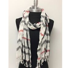 NEW Women Soft Classic Plaid Checked Crinkle Long Scarf SHAWL Stole WRAP White