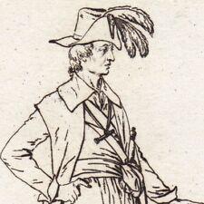 Gravure XVIIIe Costume Directoire Secrétaire Révolution Française 1796