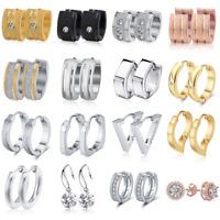 Women Men Stainless Steel CZ Hoop Huggie Ear Stud Earrings Silver Gold Jewelry