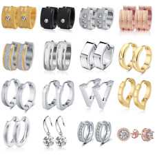 Women Men Stainless Steel CZ Hoop Huggie Ear Stud Earrings Silver Gold Jewelry