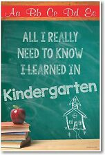 All I Really Need To Know I Learned In Kindergarten - NEW Classroom Poster