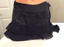 FOREVER 21. 100% Silk Black Skirt. Lining w/ Flowing Outer Skirt. Size M. NEW.
