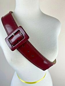 "Calvin Klein Burgundy Leather Belt XL 630712 Large Buckle Pat. Leather 44"""