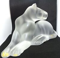 Lalique Simba Lioness Art Glass Frosted Crystal Sculpture Signed France