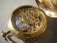 Antique 18k Solid Gold Skeletonized ¼ repeater geneve verge fusee pocket watch