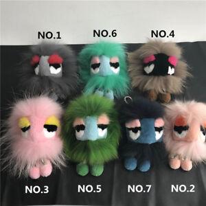 Real Fur Monster adorable feet Fur Ball Bag Bug Charm Handbag Keychain Keyring