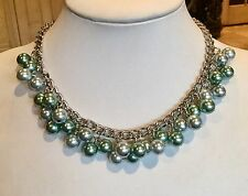 """""""MAJESTIC PEARL"""" SILVERY ICED BLUE GREEN 17"""" SIMULATED PEARL TOGGLE NECKLACE"""