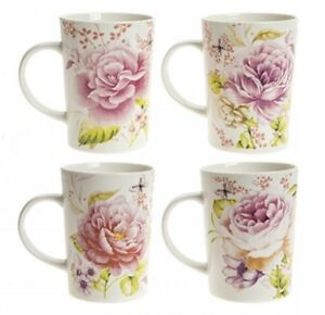4 X Floral Butterflies China Mugs Tea Cups Coffee Home Kitchen Office