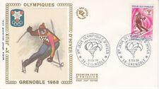 Enveloppe 1er jour FDC Soie 1968 : Jeux Olympiques d'Hiver Slalom