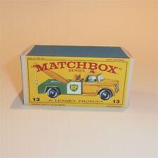 Matchbox Lesney 13 d Dodge Wreck Tow Truck empty Repro E style Box Normal Color