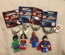 LEGO Keychains- Lot Of 4- Spideman, The Hulk, Superman And Wonder Women