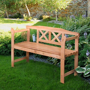 Wooden Garden Bench Outdoor Classic 3 Seater Double Park Chair Patio Furniture