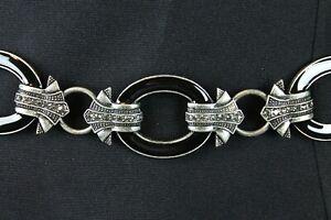"""Chicos Chain Belt 21-39"""" Black Enamel Rings Silver Steel Tone Metal Rhinestones"""