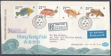 Hong Kong Scott 369-72 FDC - Fish