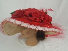 Kentucky Derby Wide Brim Wedding Church Tea Party Red Floral US Polo