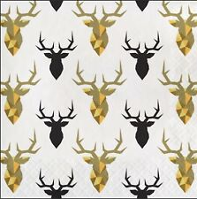 Black & Gold Stag Luncheon Napkins-3 Ply-16 Count