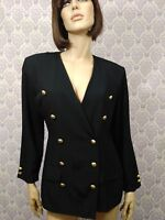 Vtg 80s 90s All That Jazz Blazer Juniors 11 Black Double Breasted Gold Buttons