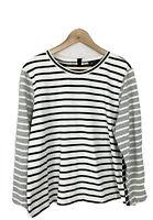 J. Crew Womens XL Mixed Striped Knit Top Long Sleeve Tee Cotton Black White Gray