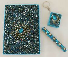 Handcrafted Neon Blue & Multi Beaded Journal / Diary with Pen & Keychain