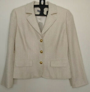 Ann Taylor Factory Women's Blazer Size 10P Jacket Ivory Gold Woven NEW