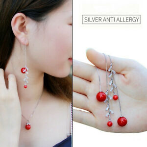 Women Red Pearl Silver Tassel Long Firecracker Zircon Pendant Dangle Earrings
