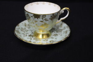 Vintage Royal Chelsea Bone China Mint Blue/Green GOLD Floral Cup & Saucer #5120A