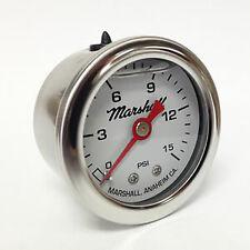 "Marshall Instruments 1.5"" Liquid Filled 0-15 Psi WHITE Fuel Pressure Gauge 1-1/2"