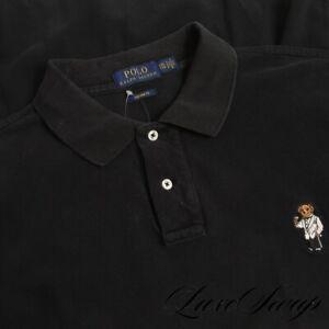 Polo Ralph Lauren Custom Fit Black Pique Martini Tuxedo Bear Tennis Shirt XXL NR