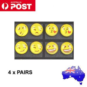 4 Pair Alloy Emoji Expressions Glass Silver Ear Stud Earrings Gift chic random