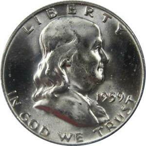 1959 D Franklin Half Dollar BU Uncirculated Mint State 90% Silver 50c US Coin