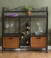 Metal Bakers Rack Kitchen Display Shelf Glass Storage Wine Cabinet Rattan Basket