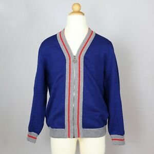 DIOR BLUE ZIP-UP SWEATER JACKET GREY/RED RIBBED CUFFS BOYS SIZE 10 EUC