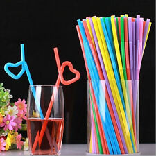 100PCS Plastic Flexible Disposable Extra Long Drinking Straw Bendy Straw New US
