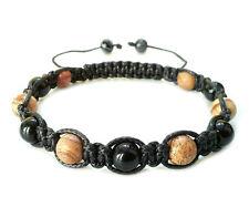 Men's stone bracelet Onyx Jasper bead shamballa beaded cuff wristband jewelry