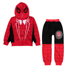 Toddler Kids Boy Spiderman Tracksuit Costume Hoodie Sweatshirt Pants Outfits Set