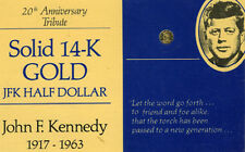 USA 14ct Solid Gold JF Kennedy Half Dollar 20th Anniv.Tribute - Sealed - Mint