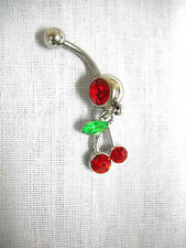NEW SIMPLE VIVA LAS VEGAS TWIN CHERRIES / CHERRY w RED CZ BELLY BAR NAVEL RING