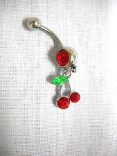 NEW SIMPLE VIVA LAS VEGAS TWIN CHERRIES / CHERRY w RED CZ BELLY BAR NAVEL RING