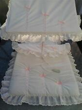 PRAM SUN CANOPY AND PRAM SET TO FIT SILVER CROSS IN WHITE PINK