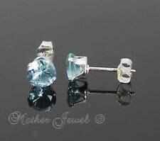 5mm Real Solid 925 Sterling Silver Round Aqua Ice Blue CZ Earrings Womens Studs