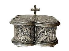 Religiosa Boîte Quadrilobée Argent Filigrané Croix & Religion Antique Silver Box