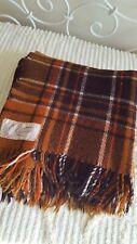 Vintage onkaparinga Orange & Brown check pure wool throw blanket rug travel