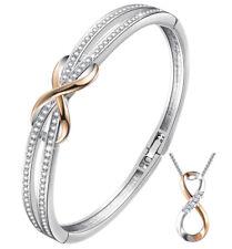 White gold finish Rose Gold Infinity created diamond bangle & Necklace Gift Set