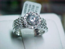 925 STERLING SILVER 3 RING HALO SIMULATED DIAMOND ROUND WEDDING SET SIZE 8