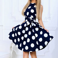 Women Sleeveless Casual New Polka Dot Princess Elagant Pageant Swing Party Dress