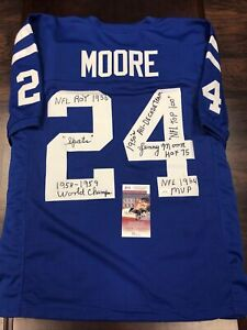 Lenny Moore Baltimore Colts Autographed Signed Custom Jersey 7 INSCRIPTIONS JSA